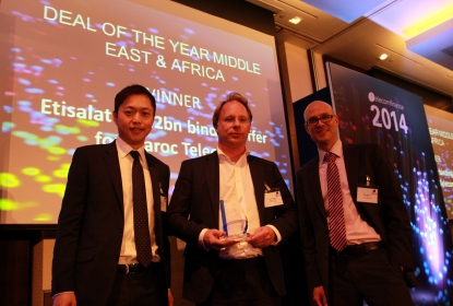 Etisalat won the Middle East & Africa Deal of the Year for agreeing to buy Vivendi's Maroc Telecom for €4.2bn. In this picture Tim Knowles, Head of M&A at Etisalat Group, together with Adam Pang (Merrill Datasite, left) and Ben Bschor (TelecomFinance, right).